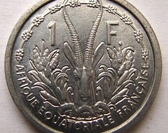 FRENCH AFRICA COIN Vintage 1948 Over 60 Years Old 1948 winged Liberty African States 1 Franc Coin