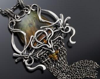 Labradorite Necklace- Fine Silver Pendant- Isabella