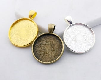 5Pcs High Quality Silver Plated Brass 25 mm Cabochon Pendant Base With Loops (06129)