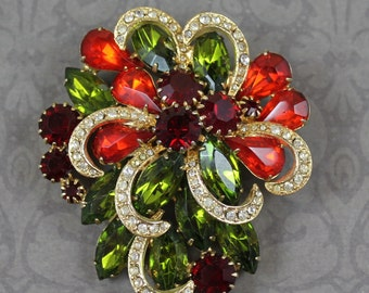 Vintage Olive Green, Ruby Red, Clear Rhinestone Gold Brooch