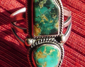 Navajo Sterling Silver Turquoise Asymmetrical Ring