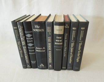 Black Book Stack - Decorative Old Books - Black Gold Silver Books for Decor - Instant library