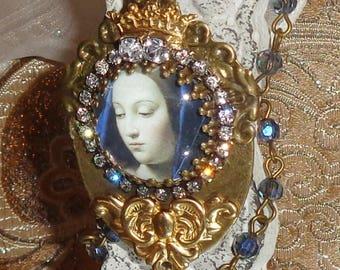 Mary blue veil image art print artisan rosary chain necklace pendant Sacred Jewelry Pamelia Designs