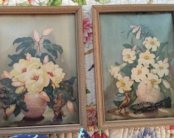Vintage Framed Floral Prints c1950 Convex frame Wood Frame pair.  Nice condition