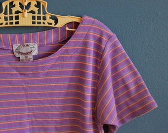 Vintage Girl's Lavender Striped Tshirt - Size 12 or 14