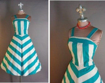 50s 80s dress 1980s vintage TEAL CHEVRON STRIPE turquoise blue white 80s does 50s cotton sun dress full skirt dress