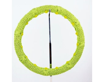 Cotton Knit Steering Wheel Cover (Juicy Lime) with safety rubber backing, machine washable