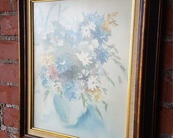 Vintage floral watercolor still life