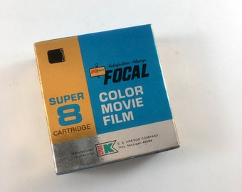 Super 8 Color Movie Film. Unopened 1970s Super 8 Cartridge. Old Movie Film. NOS New Old Stock. Focal Brand. ASA 25/40 Type A 50 Feet. 1979
