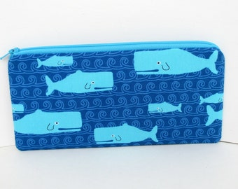 Whale Tale, Long Zippered Pencil Pouch, Cute Whales on Blue