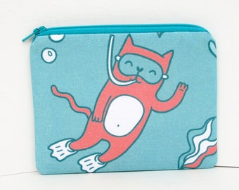 Small Zippered Pouch, Snorkel Kitty Cat, Coin Purse/Gift Card Holder