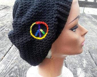 Black rainbow peace hippie slouch beanie hat