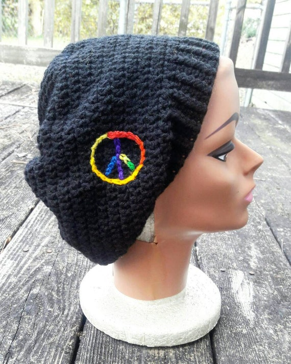 Black rainbow peace hippie slouch beanie hat