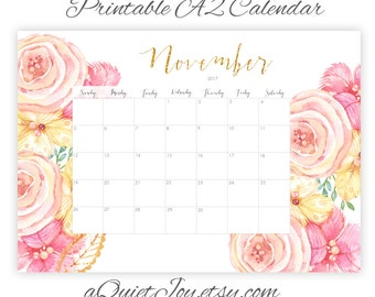 Instant. A2. November 2017 Gorgeous Large Watercolor Floral Printable Wall Calendar. Large Poster Calendar. Office, School. Homeschool Plan