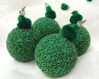 Green Beaded Christmas Decoration,Set of 4 Christmas Ornaments, Beaded Ornaments, Christmas Bauble, Ball Ornament