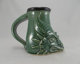 Green Dragon Head Beer Stein, Large Coffee Mug, Fantasy Art Sculpture Mug for Costuming, Festivals, Cosplay, LARP Gamers, Home Bar Drinkware
