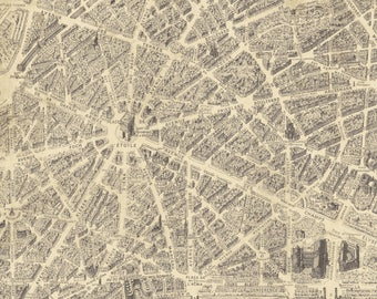 Paris Map Fabric Etsy - Paris map fabric