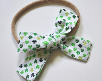 Petite Peanut Bitty Bow Headband -Green Sparkle Shamrock- Baby Girl Toddler - (Ready to Ship) -St. Patrick's Day