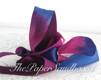 """Nouer teint violet & bleu ruban de soie, teint à la main, 1,25"""" de large par l'yard, mariage, Bouquets, emballage cadeau, couture, Bouquets, arrangement Floral"""