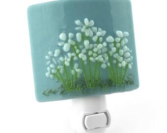 Blue Night Light with Raised White Flowers, Art Glass
