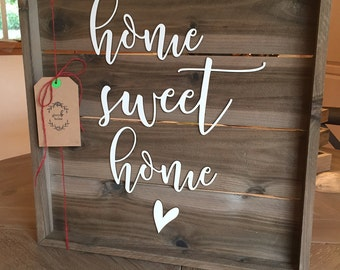 Home Sweet Home Sign - Farmhouse Decor - Wedding Gift - Wooden Sign - Personalized Gift - Rustic Wood Sign - Housewarming Gift
