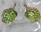 SALE Vintage Forbidden Fruit Lime Earrings.  Austrian Crystals.  Rare Forbidden Fruit Rhinestone Celluloid Lime Earrings.
