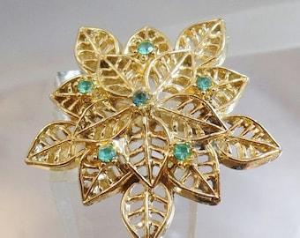 CHRISTMAS SALE Vintage Blue Rhinestone Leaf Brooch.  Gerry's.  Gold Tone Blue Rhinestone Leaf Pin.