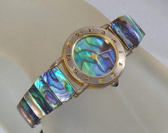 SALE Vintage Abalone Shell Ladies Watch. Abalone Shell Face and Band Wrist Watch. Women's Watch.