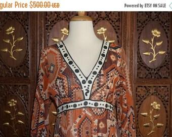ON SALE 1970s John Bates for Jean Varon Aztec Print Cotton Voile Empire Dress