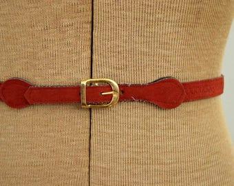 Vintage 1970's Skinny Belt / 70's Burnt Sienna Boho Belt