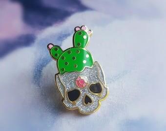 Glitter Cactus Skull - Hard Enamel Pin