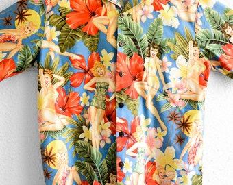 Mens Hawaiian Shirt Vintage 90s Hilo Hattie Island Girls Fashion Campshirt Beach Clothing Summer Vacation Resort Mens Vintage Shirt Size XL