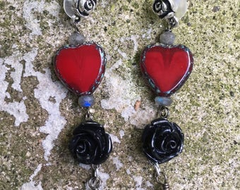 Lavanya Black Rose Red Heart Fairytale Earrings by MinouBazaar