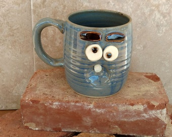 Stoneware Pottery Cup. Worried Monday Morning Mug. Blue Stoneware Pottery Ceramic Mugs. Funny Overwhelmed Worried Face Mug. 14-16 ounces