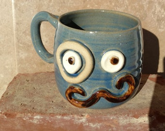 Valentine's Day Gift. Mustache Mug with Monocle Eyepiece.  Blue  Ironic Hipster Steampunk Coffee Cup. Handlebar Moustache Love Coffee Cup.