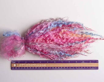 Pink ombre shades long wool locks 10-11 in wensleydale for Doll Hair - Blythe, BJD, spinning, felting, waldorf crafts