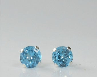 Swiss Blue Topaz 4mm .55ctw Sterling Silver Gemstone Stud Earrings