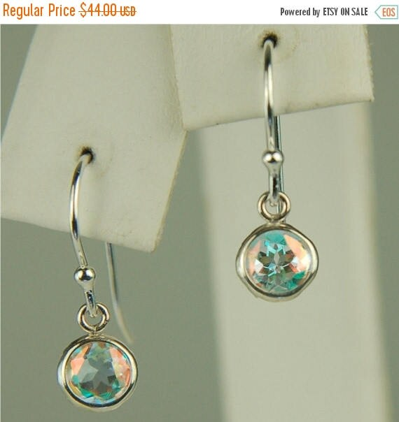 Mothers Day Sale Opalescent Topaz Dangle Earrings Sterling Silver 5mm Round 1ctw In Backset Drop