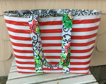 Yipes stripes!  Large oilcloth tote bag in red, white and black