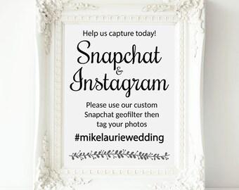 Snapchat Geofilter Wedding Sign, Printable Snapchat Sign, Wedding Snapchat Instagram Sign, Wedding Snapchat, Wedding Hashtag, Rochester