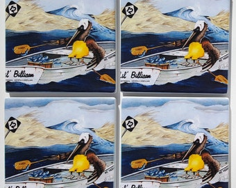 Pelican Storm Rashins Sandstone Coaster set nautical gift box included Outer Banks