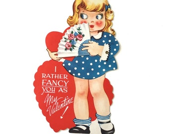 """Vintage Large 9"""" Valentines Card / UNUSED Articulated Girl Holding Fan / I Rather Fancy You As My Valentine"""