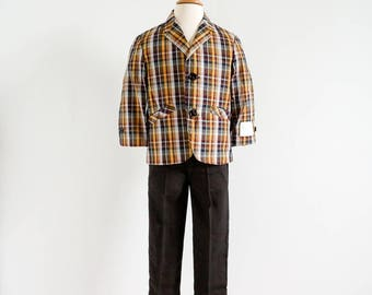 Vintage 1960s Boys Size 3 Suit / Two Pc Casual Suit NWT / Plaid Cotton Blazer Jacket and Dark Chocolate Rayon Trousers