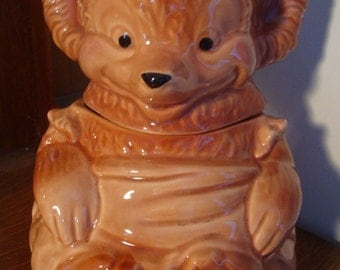 Vintage Cookie Jar Teddy Bear with Apron USA  64BR2-4