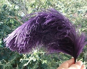 Edwardian Ostrich Plume, 18 Inch, Curved. Royal Purple Plum Millinery Trim, Multiple Dyed Feathers, Fluffy, Clean, Exquisite