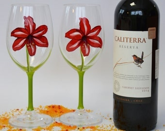 SALE PRICE Set of 2 Hand painted Wine glasses Red Lily for Cosy wine events