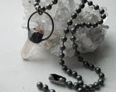 Quartz Crystal Choker Necklace on Chubby Ball Chain Necklace