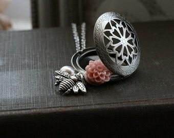 Bee necklace, silver locket necklace, round  locket silver, long locket necklace, locket with bee,  silver locket - Busy Bee