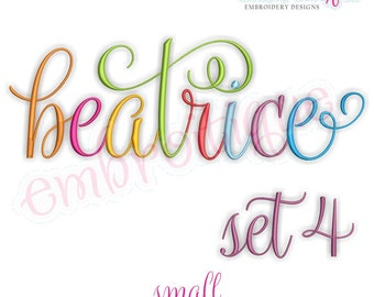 Beatrice 4 Monogram Font- Small - BX files included- Instant Download Machine embroidery design