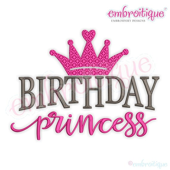 Birthday Princess With Crown Machine Embroidery Design